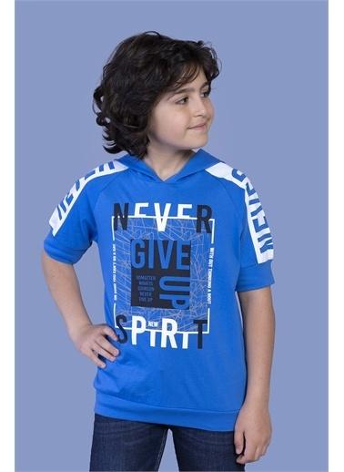 Toontoy Kids Toontoy Erkek Çocuk Baskılı Kapüşonlu Reglan Kol Tişört Saks